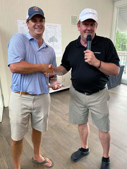President John showing appreciation to Tournament Organizer, Jonathan Bickett
